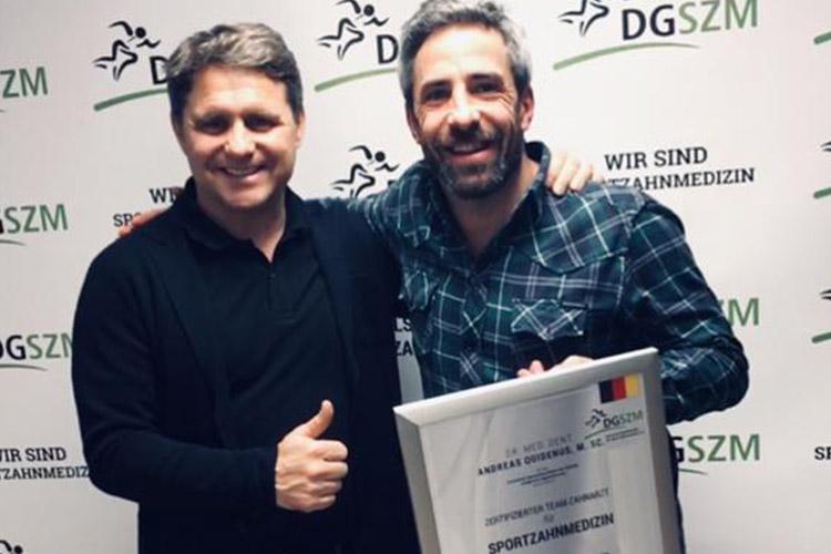 Dr. Andreas Quidenus erhält die Auszeichnung zum Sportzahnarzt in Wien