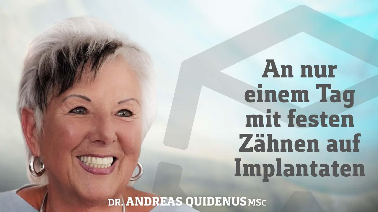 Patientin erklärt, wie sie mit All-on-4 aus Wien wieder feste zubeißen kann.